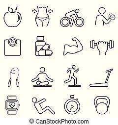 Fitness, íconos de línea de dieta