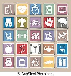 Fitness icons sticker set