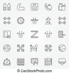 Fitness line iconos set