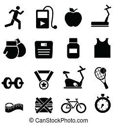 Fitness, salud y íconos de dieta