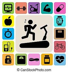 Fitness y íconos de salud.