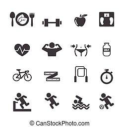 Fitness y íconos de salud establecidos
