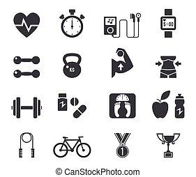 Fitness y icono de dieta en negro.
