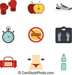 Fitness y iconos de dieta, estilo plano