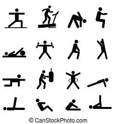 Fitness y iconos de ejercicio