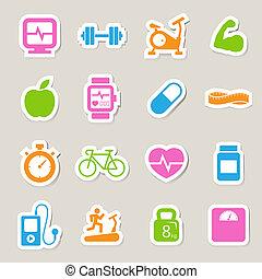 Fitness y iconos de salud.