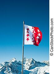 Flag de cantón Wallis, Suiza