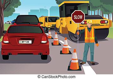 Flagger trabajando en la construcción de carreteras