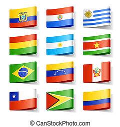 flags., america., mundo, sur