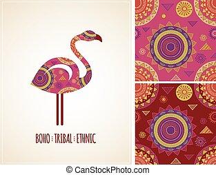 flamenco, tribal, patrones, bohemio, plano de fondo, étnico, icono