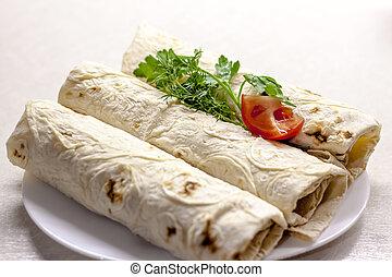 flatbread., cocina, carne, rollo, rollos, vegetables.