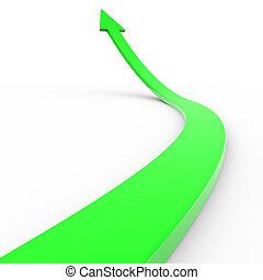 Flecha 3d verde.