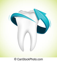 Flecha alrededor de los dientes