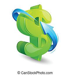 Flecha alrededor del dólar