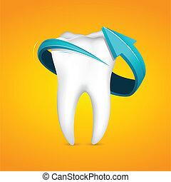 Flecha alrededor del diente