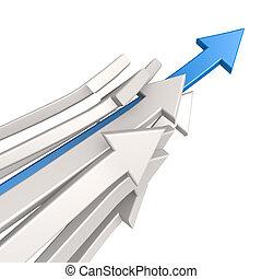 Flecha azul hacia el éxito