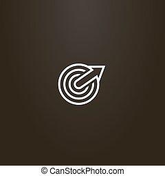 flecha, blanco, vector, línea central, arte, señal, circular, crecer