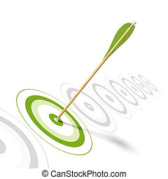 Flecha en el centro de un blanco verde, hay 8 objetivos seguidos