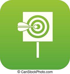 Flecha en el centro del blanco icono digital verde