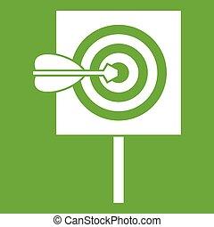 Flecha en el centro del blanco icono verde