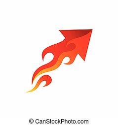 flecha, fuego, diseño, logotipo, vector
