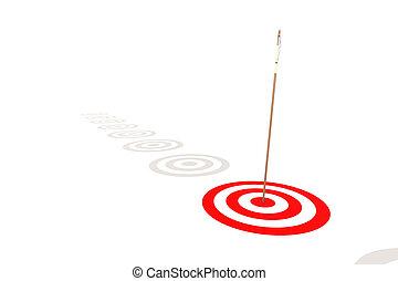 Flecha golpeando el centro de un blanco rojo