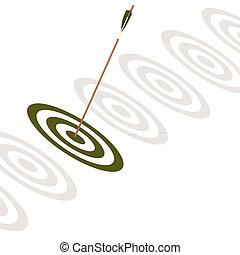 Flecha golpeando el centro de una tabla verde