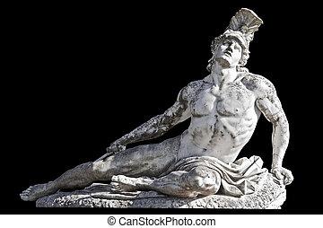 Flecha hirió a la estatua de Aquiles en un fondo negro