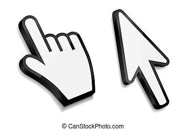 flecha, ilustración, mano, vector, cursores, ratón