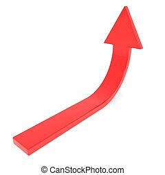 Flecha roja. Concepto de éxito, crecimiento.