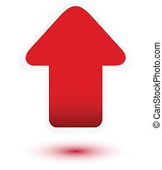 Flecha roja en blanco