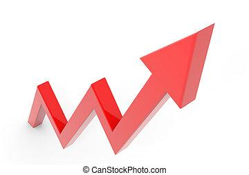 Flecha roja subiendo. Una metáfora de negocios exitosa.