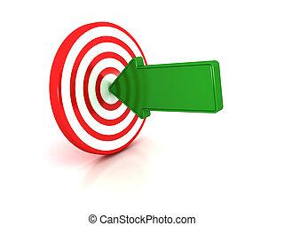 flecha, target., verde, puntos, centro