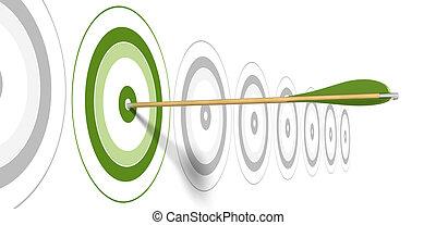 Flecha verde, golpeando el centro del blanco verde con blancos grises en el fondo