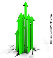 Flechas arriba representan mejoras, avance y señalamiento