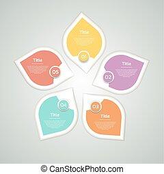 Flechas circulares vectoriales, diagrama, gráfico, presentación, gráfico. El concepto del ciclo de negocios con 5 opciones, partes, pasos, procesos. La plantilla de datos del remolino de información.