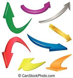Flechas coloridas puestas