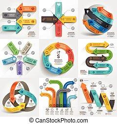 Flechas de comercialización comercial de información gráfica. Puede usarse para diseño de flujo de trabajo, pancarta, diagrama, opciones de número, diseño web, elementos de línea temporal.