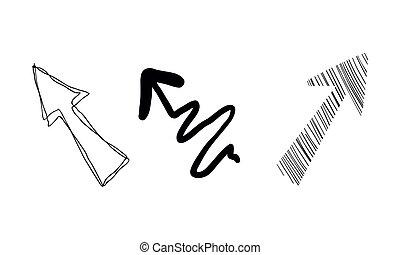 Flechas dibujadas a mano vector de ilustración en un fondo blanco
