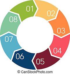 Flechas en círculo de vectores para información gráfica.