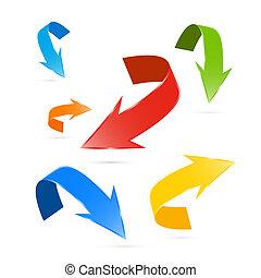 Flechas vectoriales de colores aisladas en fondo blanco
