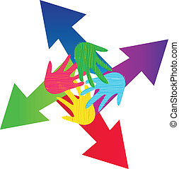 Flechas y logotipo de manos pintados