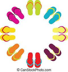 Flipflops coloridos de verano en círculo aislados en blanco