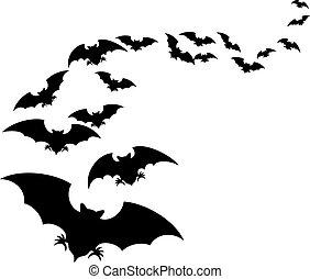 Flock of bats (set of bats flying)