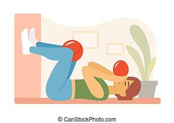 floor., manual, físico, mecánica, knees., concepto, vector, restoration., entre, acostado, globo, pelota, plano, ilustración, therapy., conservar, infla, niña, moderno, respiración, postural