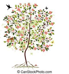 flor, árbol, manzana