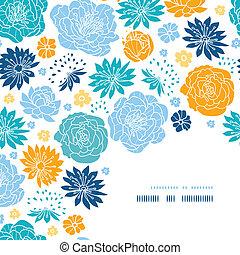 Flor azul y amarilla siluetas en la esquina decoracion de fondo
