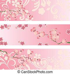 flor, cereza, conjunto, bandera