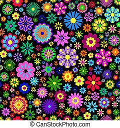 Flor colorida de fondo negro