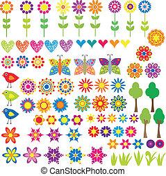 Flor, corazón y colección de animales